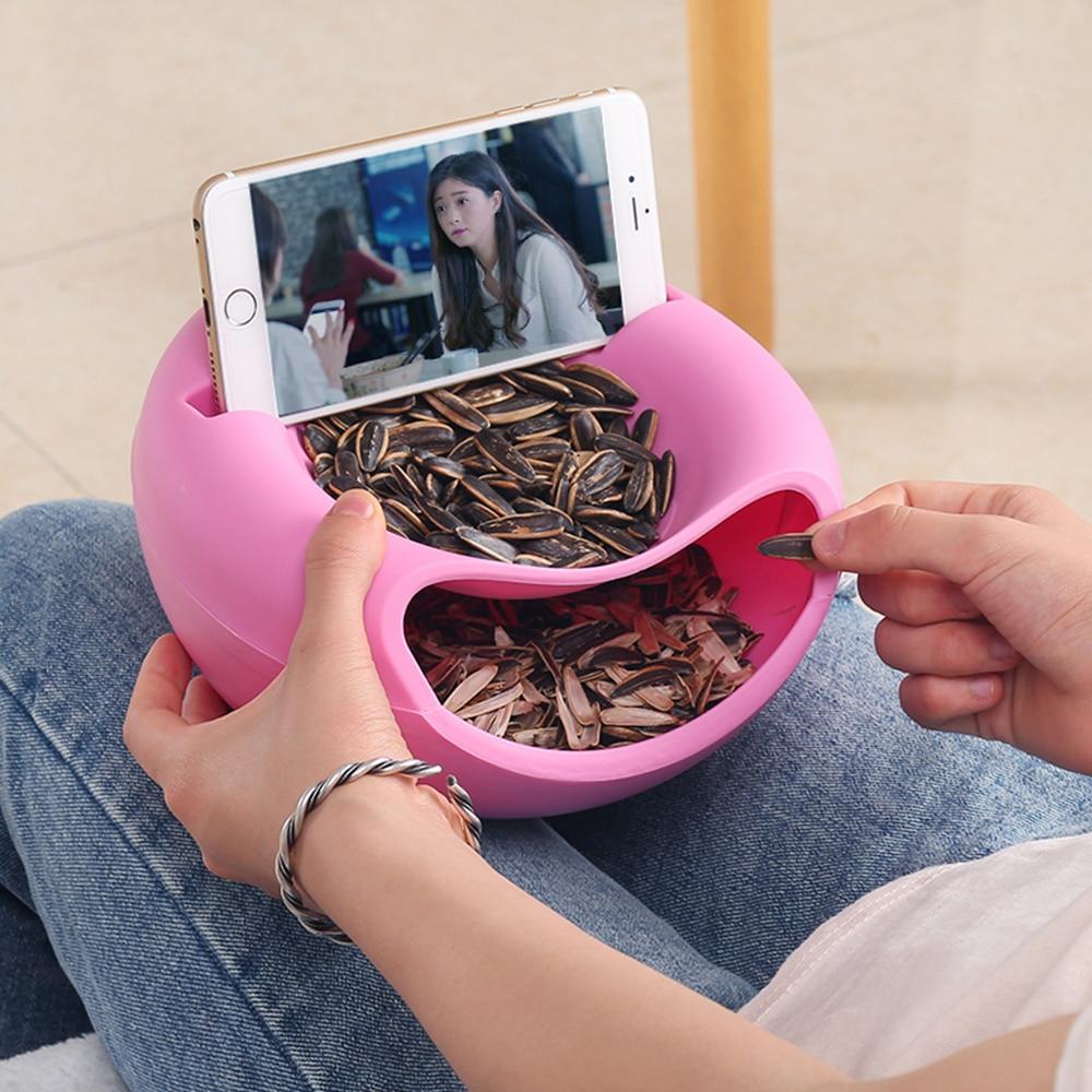 Duplo preguiçoso lanche tigela de plástico lanche caixa de armazenamento tigela tigela de frutas suporte do telefone perseguindo artefato 4 cores