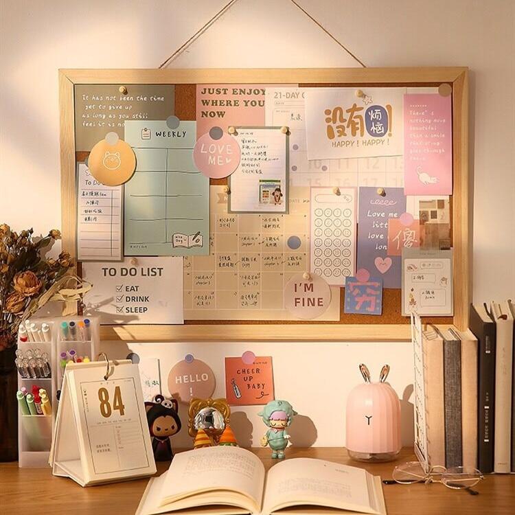 INS мягкая деревянная доска для сообщений, декоративная комната, открытка, фотография, настенная пробковая доска, бумага для записей, фон, дос...