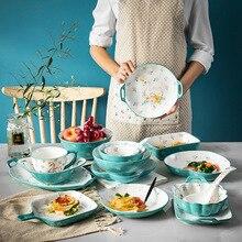 Tazones pintados a mano de dibujos animados, vajilla, juego de cena, plato de cerámica para el hogar, Bol para sopa, fideos y arroz, amantes de los Cisnes, vasos, cubiertos