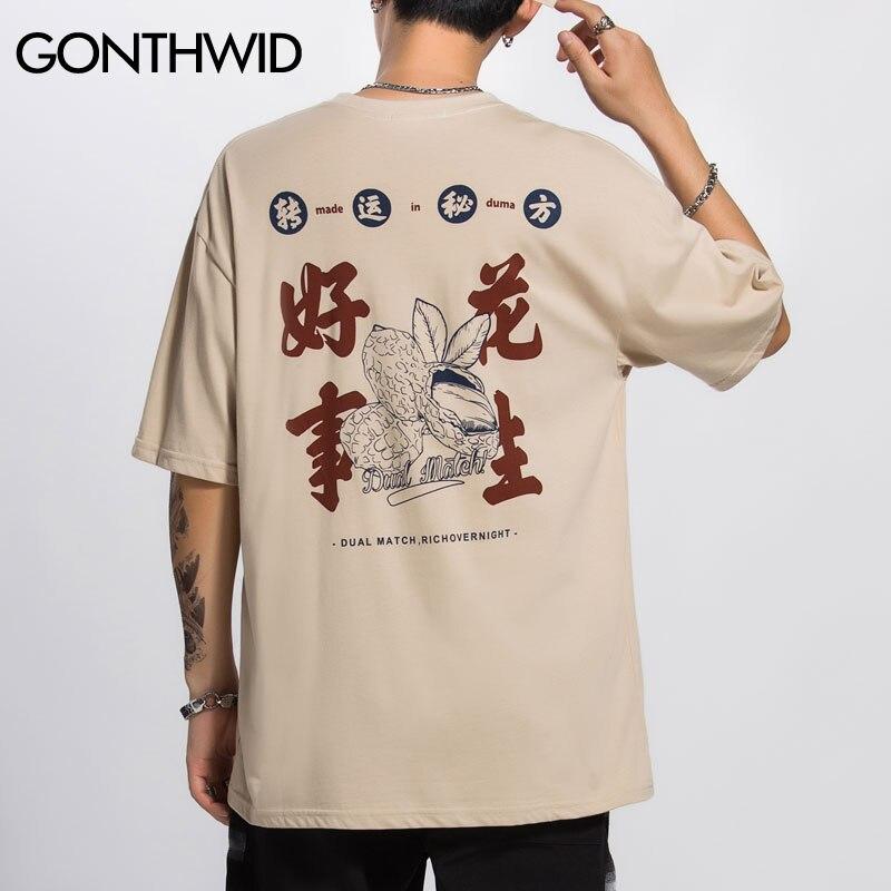 Gonthwid harajuku chinês caracteres amendoim impressão de manga curta t-shirts streetwear hip hop casual topos t