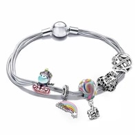 fit pan bee happy heart unicorn rainbow charms bracelets for women diy colors hot air balloon beads for jewelry making girl gift