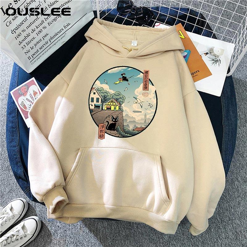 OUSLEE Women Japanese Anime Funny Cartoon Hoodie Spirited Away Sweatshirt 90s Graphic Hoody Female Kawaii Sweatshirt Hoody