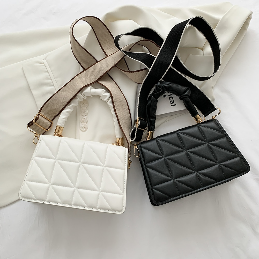 Fashion Pleated Strap PU Crossbody Bags Ladies Lattice Pattern Messenger Bags Women Solid Color Flap