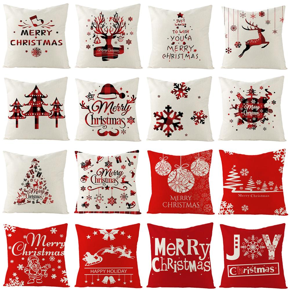 Qifu árvore de natal fronha elk almofada capa feliz natal decorações para casa 2020 navidad ano novo 2021 presente natal noel