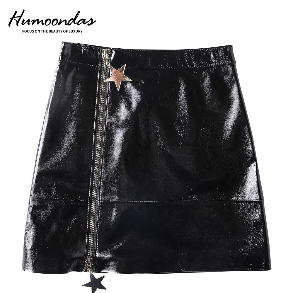 Humoondas Women Fashion High Waist Skirt Sexy Zip Genuine Leather Short Pencil Bodycon Mini Skirt 2020 New Solid Sheepskin Skirt