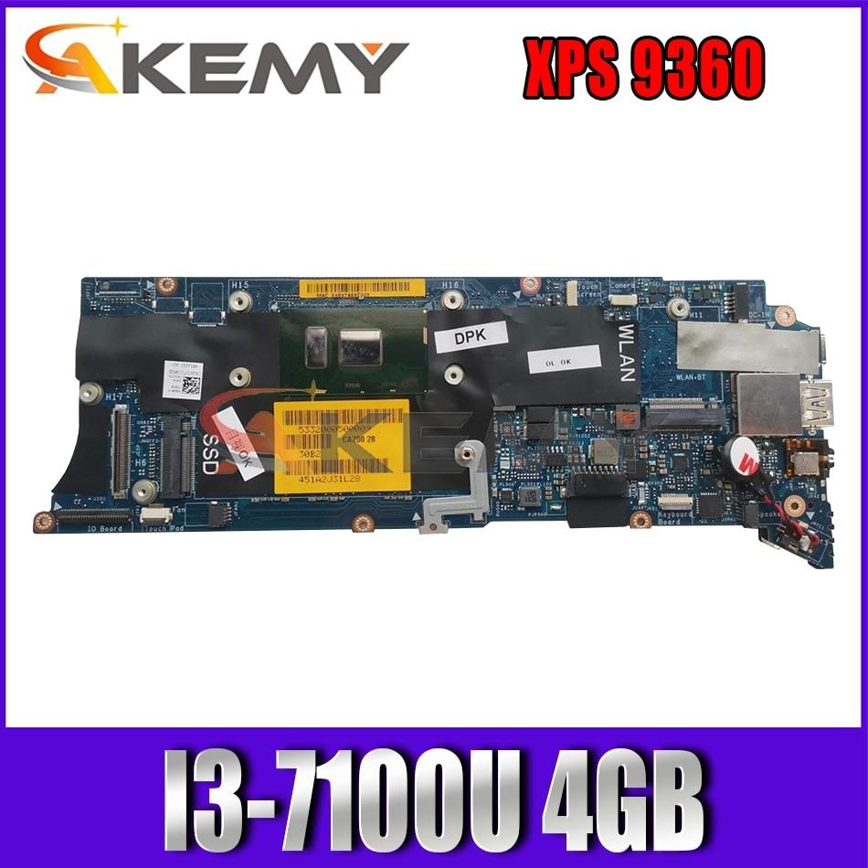 Akemy Brand NEW I3-7100U 4GB FOR DELL XPS 9360 Laptop Motherboard LA-D841P CN-0K3VT3 K3VT3 Mainboard 100% tested
