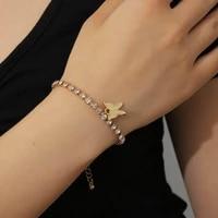 fashion and romantic butterfly tennis rhinestone bracelet woman shiny crystal pendant beach anklet bracelet jewelry gift