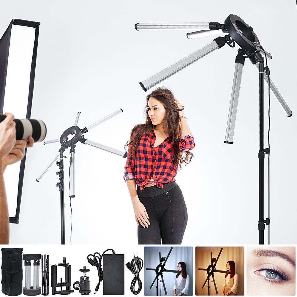 Освещение для фотосъемки fosoto TL-1200S, 3200-5600K, 120 Вт, мультимедиа, экстремальная Звездная лампа, камера, фото, телефон, видео со штативом