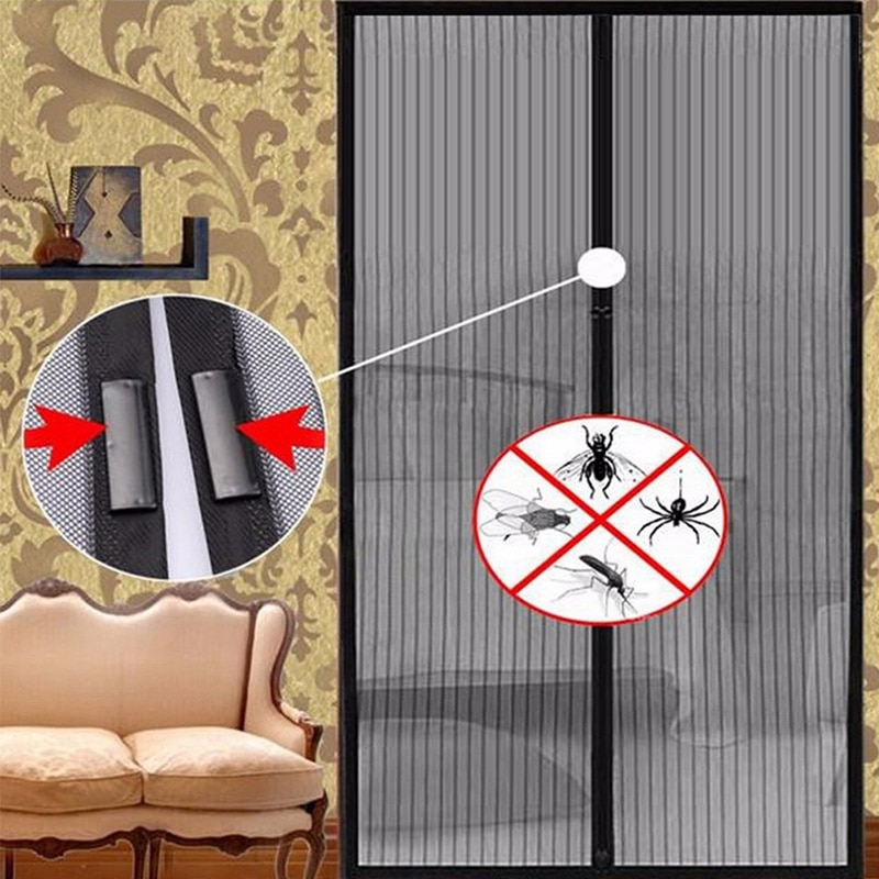 Hebilla magnética cortina Anti-mosquito cortina ventilado no-tejido a rayas puerta pantalla fuerte,...