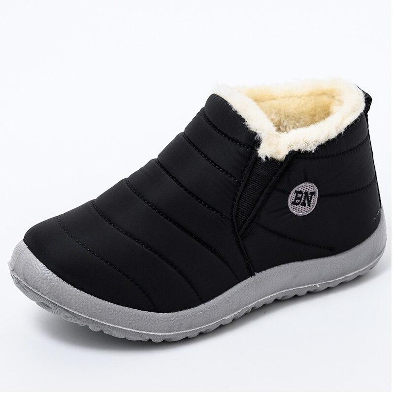 مقاوم للماء الثلوج أحذية النساء الأحذية الدافئة أفخم الشتاء الأحذية الإناث حذاء مسطح امرأة الكاحل أحذية الشتاء بوتاس موهير حجم كبير 44