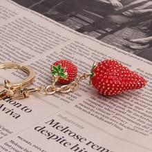 1 adet simüle meyve anahtarlık kırmızı çilek anahtarlık anahtarlık kadınlar kız takı için sevimli araba anahtarlık anahtarlık