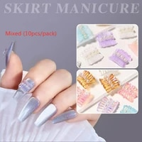 misscheering fashion candy color skirt nail supplies for professionals 2021 10pcsset nails accessories for diy manicure design