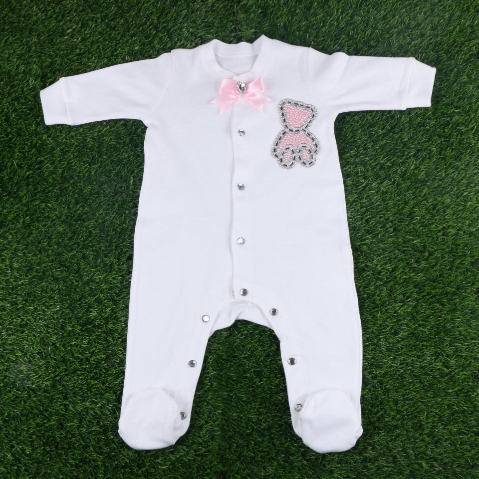 custom brand newborn cartoon with crystal beaded bowkont luxury design 56 cm length baby boy girl footies clothes rompers