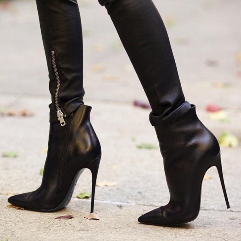 Ботильоны женские на высоком каблуке, ботинки из матовой кожи, заостренный носок, Классическая обувь для празднования, большие размеры, чер...