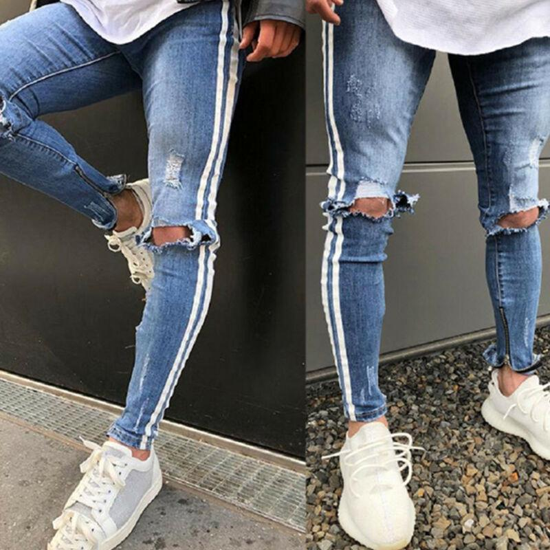 Men's Casual Skinny Stretch Jeans Destroyed Ripped Striped Denim Pants Trousers five pockets destroyed skinny jeans