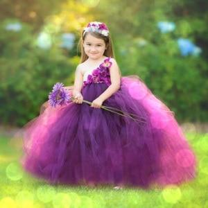 Girls Plum Flowers Wedding Tutu Dress with headband Children 2019 Handmade Tulle Costume Kids Formal Ball Gown Birthday Gifts