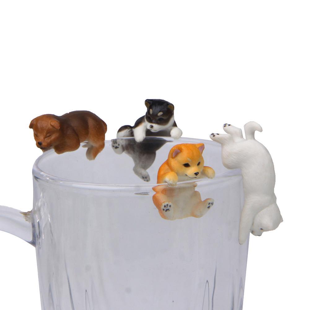 Realista estatueta modelo brinquedos lifelike mini shiba cão animal estatueta pendurado copo aro diy paisagem ornamento decoração da mesa