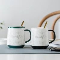 creative fashion mug with spoon with lid brief classic mugs coffee cups cute tazas de cafe creativas reusable cup bd50ms