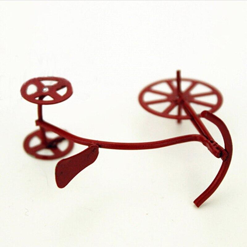 112 casa de muñecas miniatura accesorios Red bicicleta para niños triciclo Retro estilo clásico juguetes habitación diy bicicleta ornamento