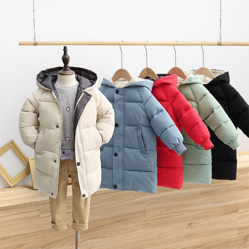Children's Down Coat Winter Teenage Baby Boys Girls Cotton-padded Parka & Coats Thicken Warm Long Jackets Toddler Kids Outerwear