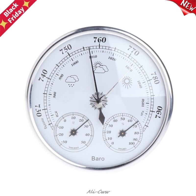 Meteorológica do Agregado Medidor de Pressão Instrumento do Tempo do ar Estação Familiar Barômetro Termômetro Higrômetro Parede Pendurado Alta Precisão