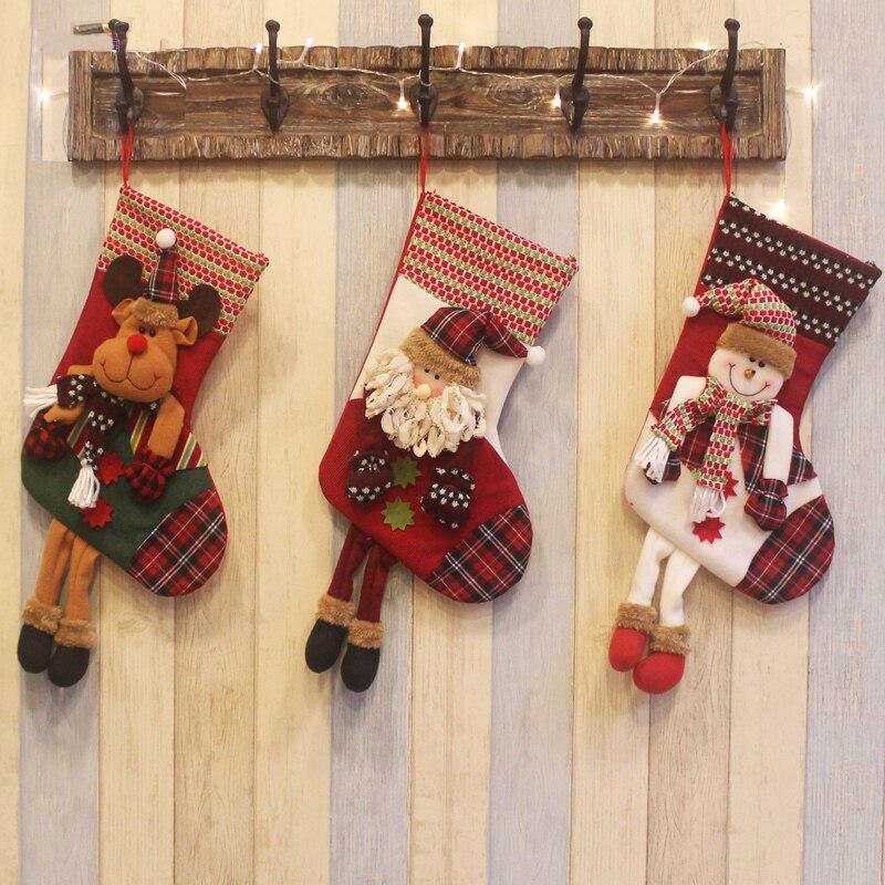 christmas decoration socks stockings santa gift bag hanging festival ornament santa claus snowman deer festival decoration Christmas Dress Up Christmas Tree Ornaments Santa Snowman Deer Socks Christmas Gift Bag Children Gift Bag