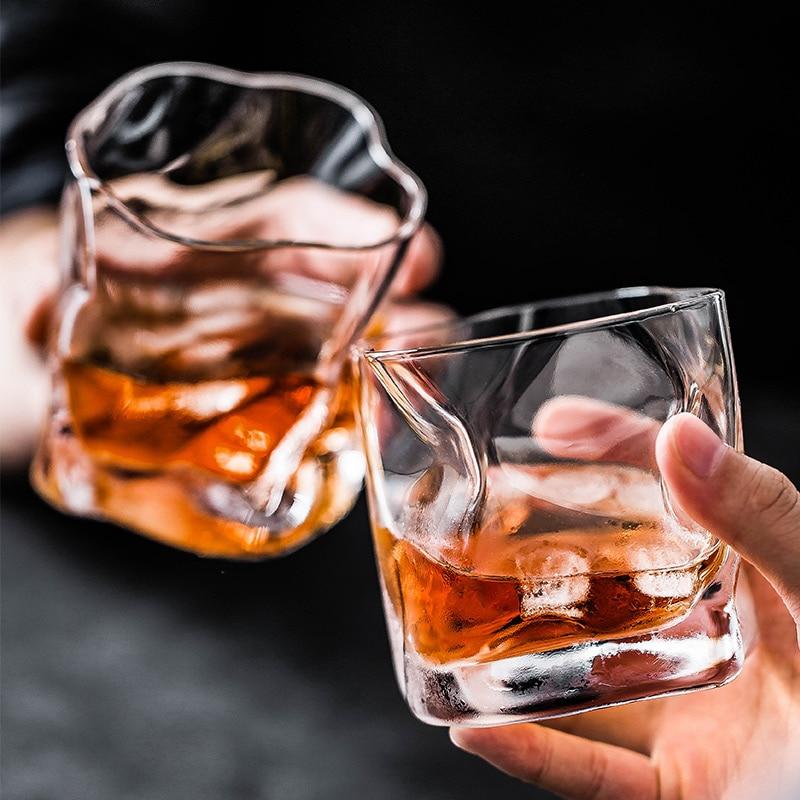 2 unids/lote 245ml whisky vaso de whisky Irregular copas de vino de cristal de vasos de vidrio lavavajillas vaso copa de vino