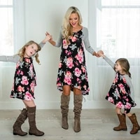 2 8t mother and daughter dress floral matching mom girls family clothes outfits beach dress elegant princess pageant vestidos