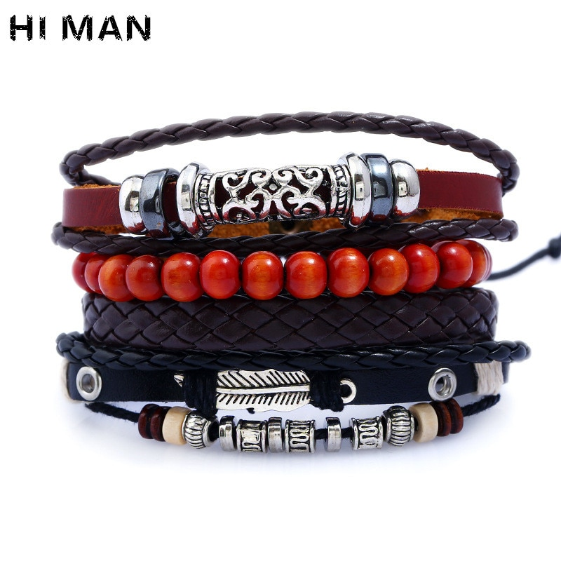 Nueva moda Multi-Pulsera piel capas para hombres Vintage patrón aleación accesorios Red Beads pulseras brazalete Heren venta al por mayor