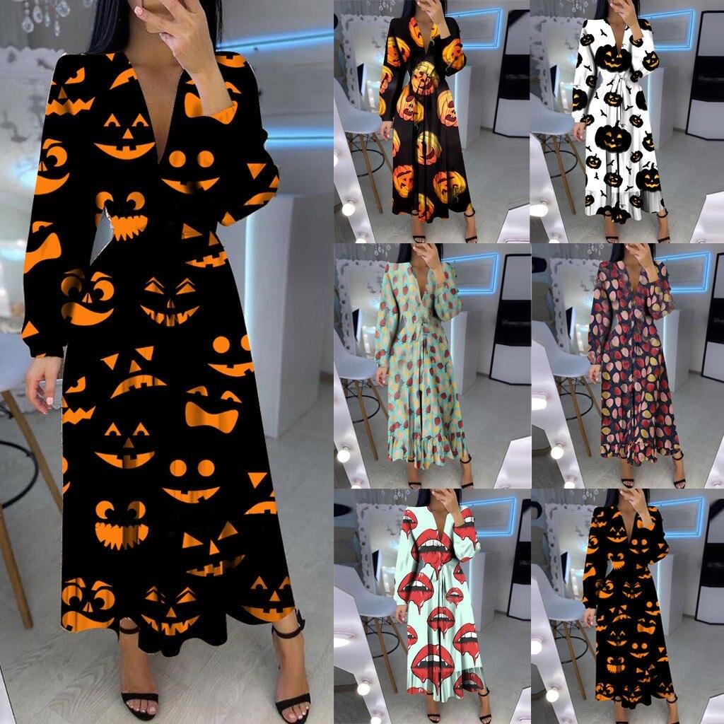 Vestido de otoño платье de mujeres nueva moda Waisrt V-cuello de manga larga dibujos de Halloween con volantes largo de gran tamaño vestidos envío gratis
