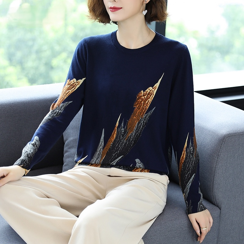 2020 Autumn Winter Casual Knitted Sweater Women Pullover Sweaters Loose Jumper O neck Long sleeve Printed sweater Women недорого