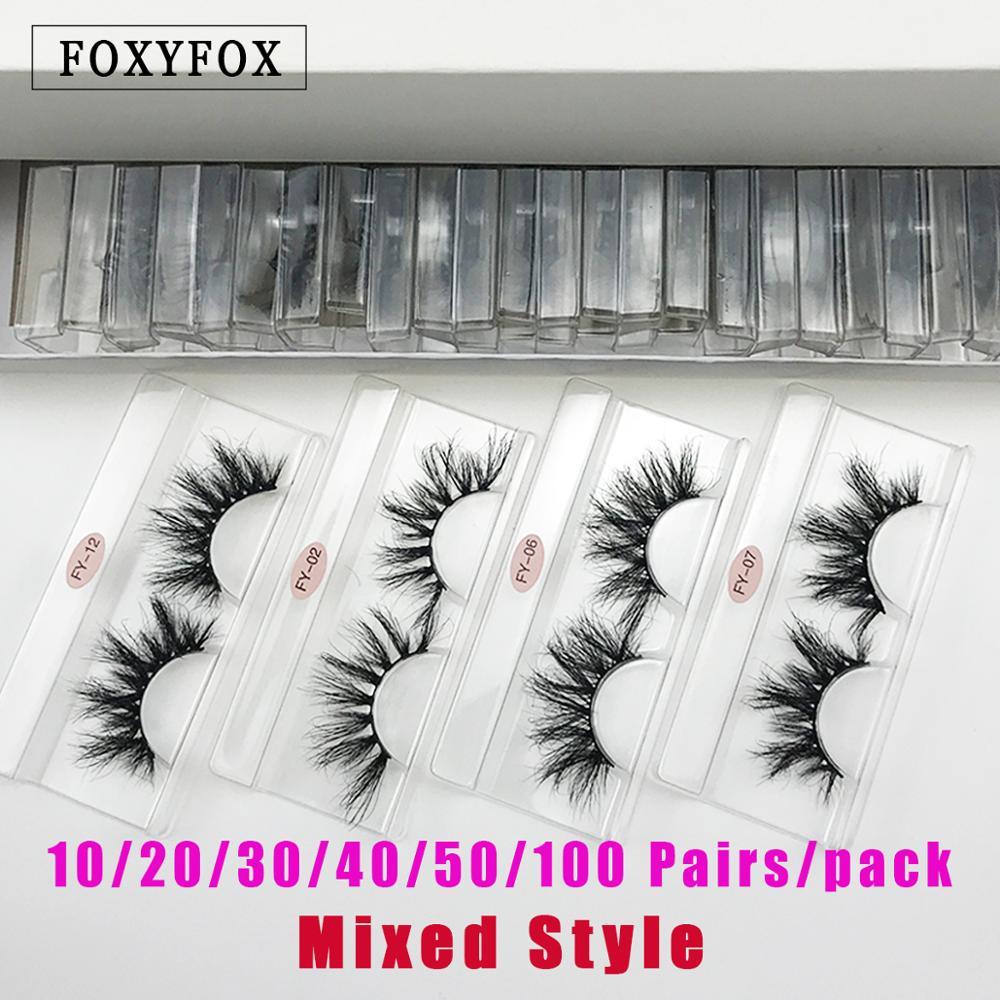 Foxyfox atacado 20/30/40/50 pares sem caixa eyelashe 25mm vison cílios dramáticos artesanais 21 estilos crueldade livre vison cílios