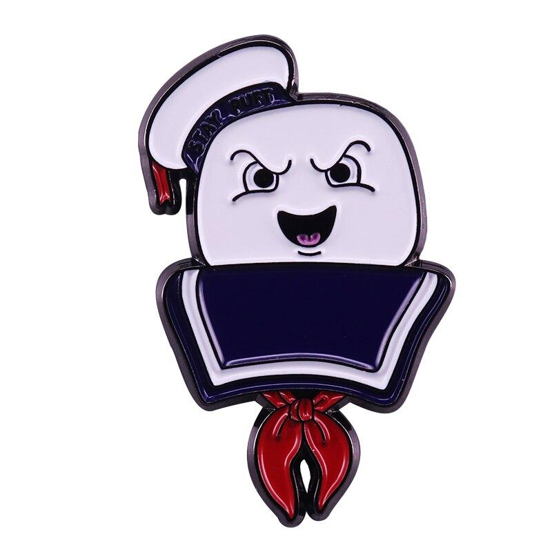 Mr. stay puft lapela pino ghostbusters marshmallow homem broche chapéu mochila acces