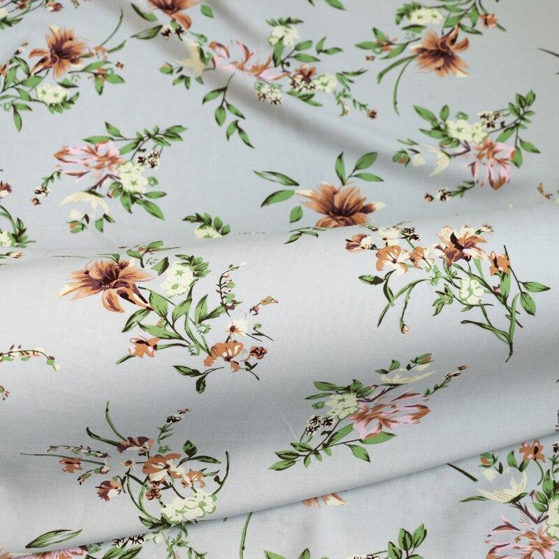 Au mètre tissu en popeline de Viscose rétro florale matière rayonne dense douce pour robe gris clair