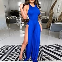 jumpsuit women 2021 summer fashion sexy party club overalls sleeveless sexy backless side high slit jumpsuit