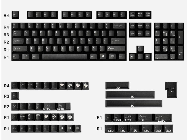 لوحة مفاتيح سوداء مزدوجة جذابة من EnjoyPBT مزودة بغطاء مفاتيح على شكل الكرز 153 أغطية مفاتيح للوحة المفاتيح الميكانيكية