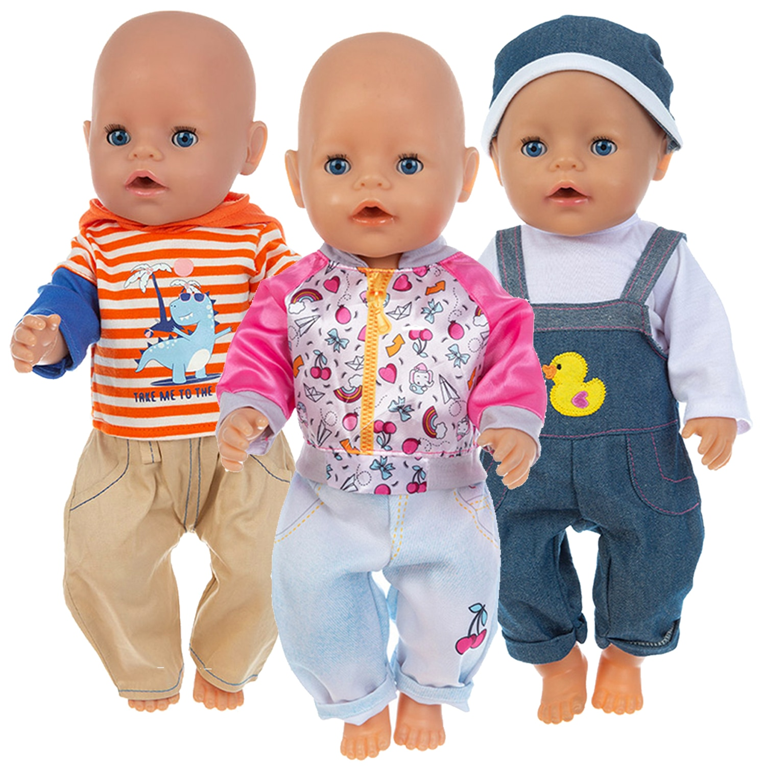 2020 Hot Sale Baby New Born Fit 17 inch 43cm Doll Clothes Accessories Cherry Duck Hat Suit Clothes