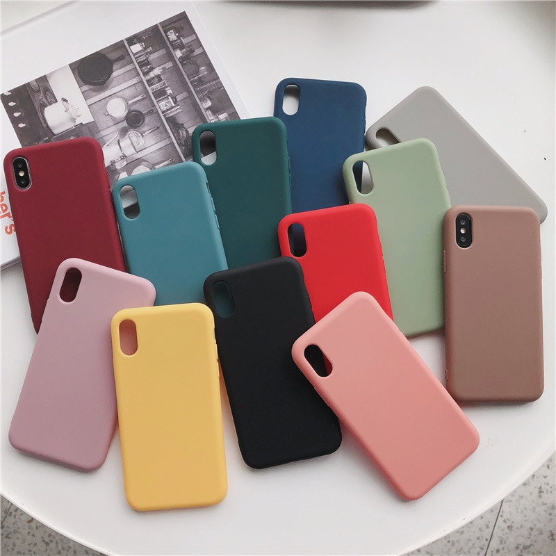 100Pcs/Lot Soft Silicone Phone Cases For 12 Mini 11 Pro Max XS MAX XR X 8 7 6 Plus SE2 Candy Color TPU Shockproof Couples Cover