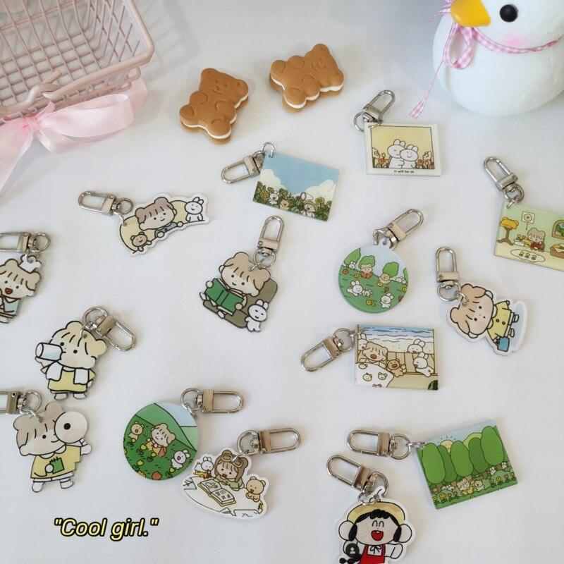 Милый мультяшный кролик с лесной девочкой, застежка для ключей, акриловая Студенческая Канцелярия, креативный декоративный кулон, аксессуа...