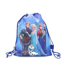16pcs High Quality Frozen Disney Elsa&Anna Drawstring Bags Kid Travel Pouch Storage Clothes Shoes Ba