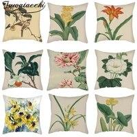 classic flower cushion covers linen vintage printed pillowcase for home sofa bed decor throw funda cojin 45x45cm