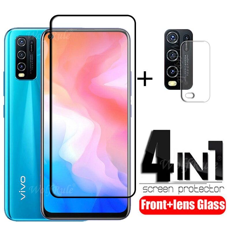 4-в-1 для Vivo Y30 стекло для Vivo Y30 закаленное стекло полное клеевое покрытие HD защитная пленка для экрана для Vivo Y50 Y30 стекло для объектива смартфон vivo y30 64gb dazzle blue