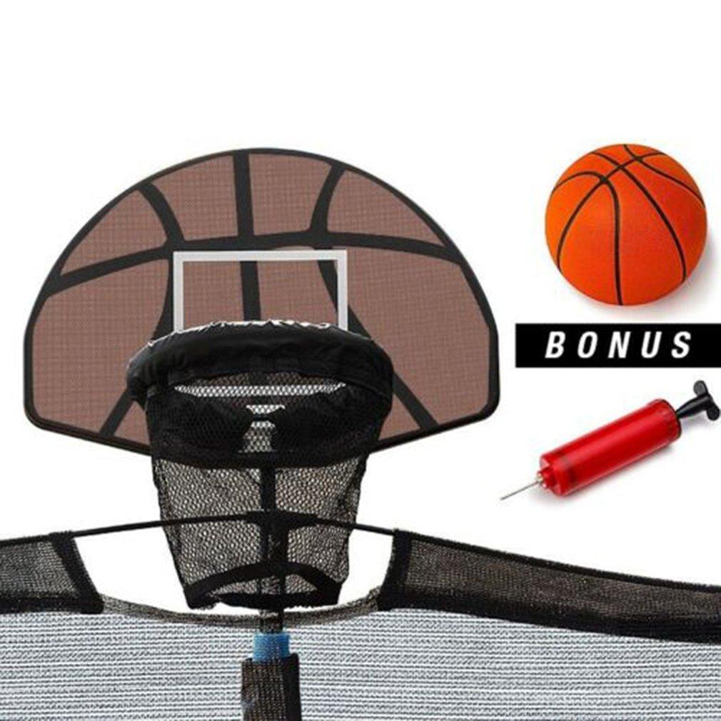 Universal Design Durable Use Trampoline Basketball Hoop Ring Backboard Ball Set Basketball Hoop Supplies Children Outdoor Toys