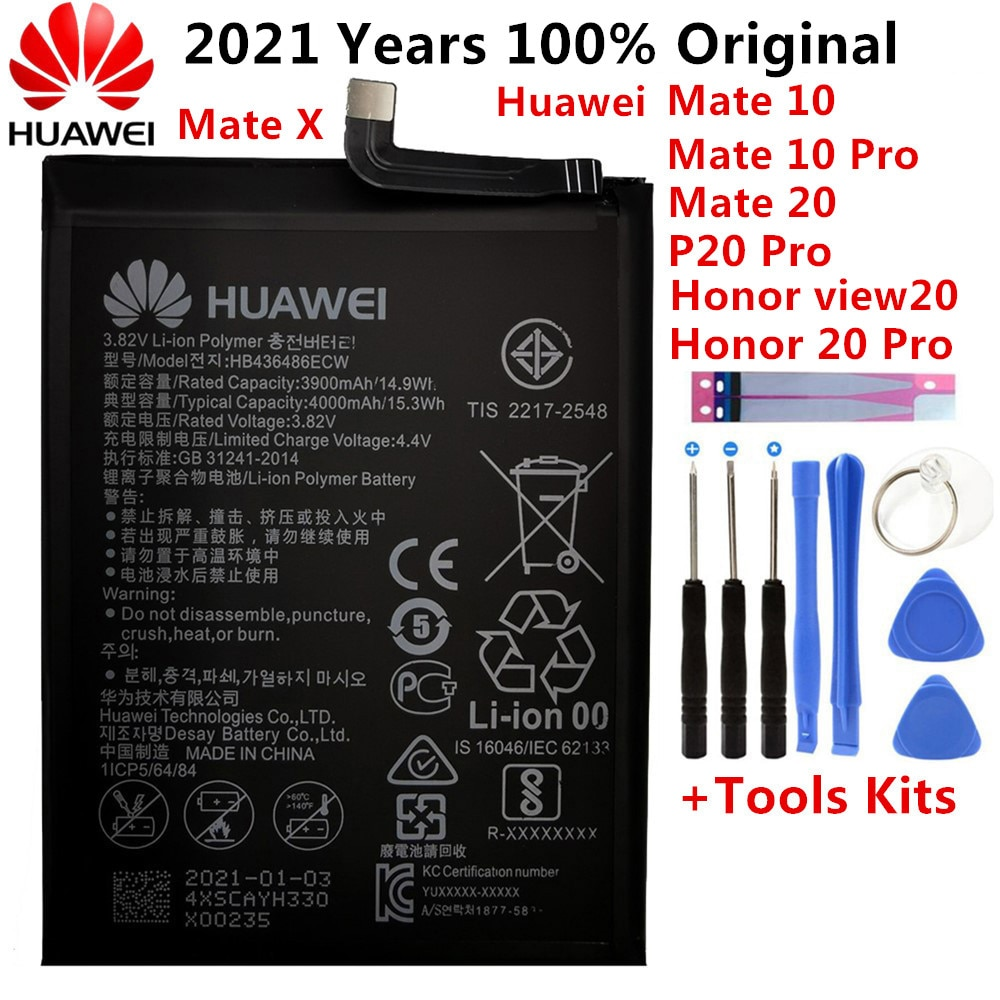 استبدال بطارية الهاتف HB436486ECW 3900mAh لهواوي ماتي 10 / 10 برو ماتي 20 P20 برو الشرف V20 البطاريات الأصلية