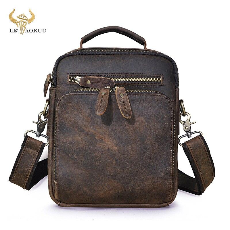 كريزي هورس-حقيبة كتف جلدية للرجال بتصميم عتيق ، حقيبة سفر ، حقيبة كتف ، عصرية ، 10 بوصات ، حقيبة حمل ، 8059