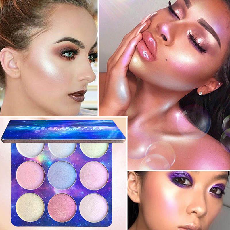 Paleta de sombra de ojos iluminador de maquillaje, 9 colores, pigmento mate sombra de ojos brillo polvo Primer maquillaje cosméticos para brillo moda TSLM1