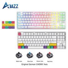Clavier mécanique Ajazz K870T avec clavier de jeu Bluetooth sans fil rétroéclairé rvb touches PBT 87 touches avec commutateurs Cherry