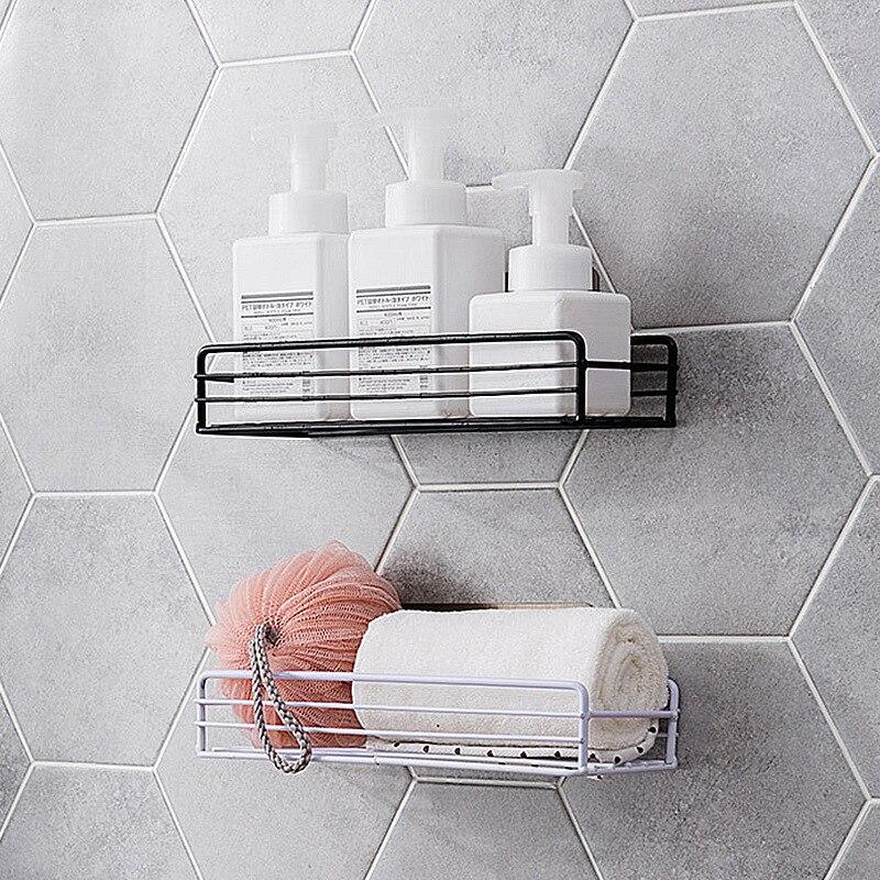 Tieyi Bathroom Shelf Shower Dew Shelf Bathroom Hole-free Washing Basket Wall Hanging Shelf  Organizer