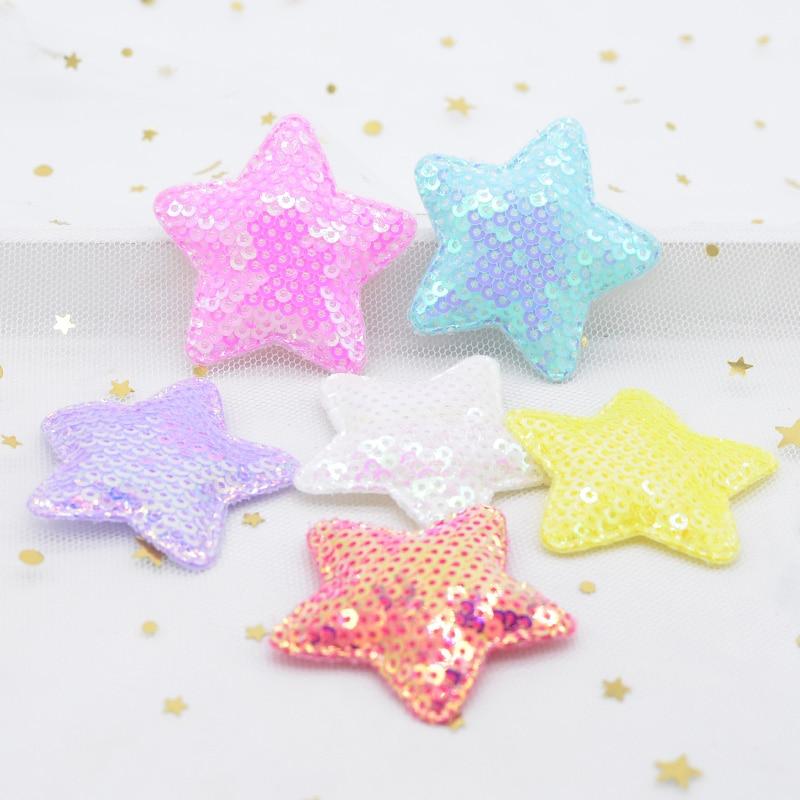 12 pçs 48mm glitter estrela acolchoado apliques com lantejoulas bordado remendos para roupas chapéu costura diy headwear grampos de cabelo decoração l07