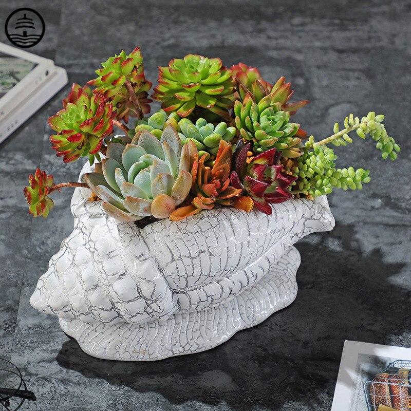 Vaso de Flores Decoração para Casa Guang Europeu Criativo Concha Modelagem Vaso Arte Crack Simples Animal Cerâmica Artesanato R6540 Bao ta
